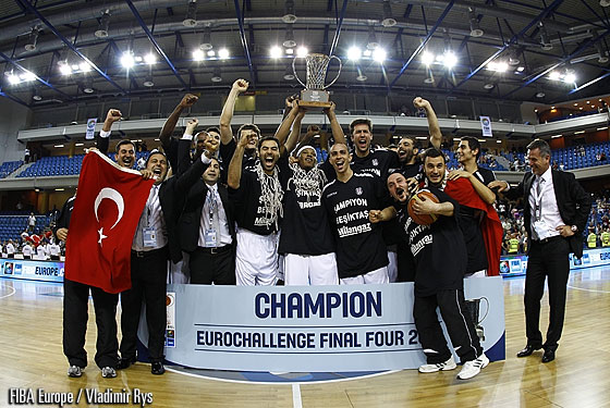 Besiktas Milangaz celebrating their win in the EuroChallenge 2012 Final
